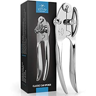 Zulay Kitchen Manual Can Opener With Smooth Comfortable Grip Handle - Easy To Turn Knob Durable Handheld Can Opener - Premium Grade Construction Hand Can Opener
