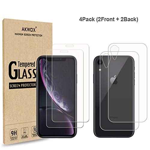4-Pack Compatible with iPhone XR Screen Protector with Back Covers, Akwox 9H Tempered Glass Front Screen Protector and Back Screen Protector for iPhone XR (6.1