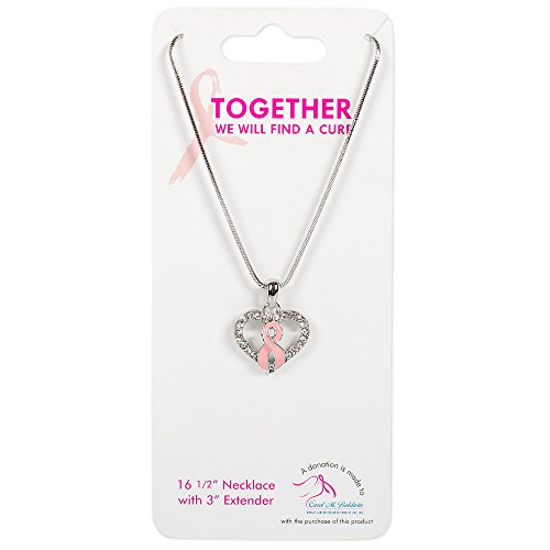 Pink Ribbon on Heart 16.5 inch Chain Breast Cancer Awareness Pendant Necklace (Gift Basket Fundraiser)