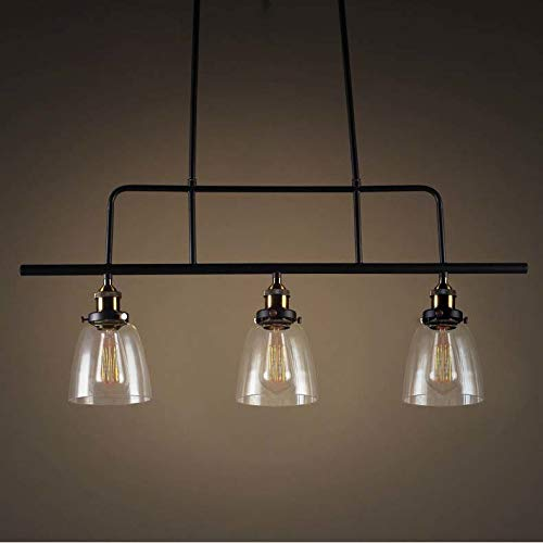 NIUYAO Industrial 3-Light Pendant Lighting Kitchen Island Hanging Lamps with Bowl Clear Glass Shade Chandelier Ceiling Light Fixture (Black) 422667 ()