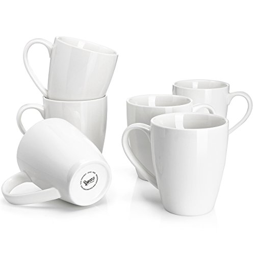 Sweese 6201 Porcelain Mugs - 16 Ounce for Coffee, Tea, Cocoa, Set of 6, White by Sweese