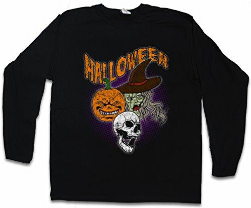 Urban Backwoods Halloween Faces Long Sleeve T-Shirt Black ()