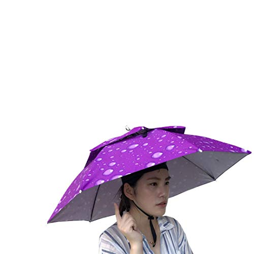 Umbrella Hat, Sttech1 Novelty Double Layer Sun Hat Golf Fishing Camping Fancy Dress Folding Headwear Waterproof Elastic for Fishing Gardening (Purple)