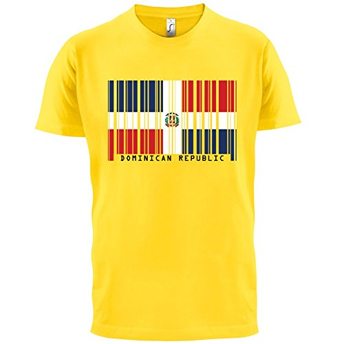 Dominican Republic / Dominikanischen Republik Barcode Flagge - Herren T-Shirt - Gelb - M