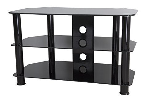 AVF SDC800CMBB-A  TV Stand for 10-inch to 42-inch TVs, Black Glass, Black Legs