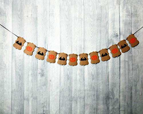 Thedmhom 1 Pcs Halloween Pumpkin and Bat Banner Garland Vintage Hanging Decoration Indoors Bunting Festival Theme Party Flag Wall Décor Home School Office Door Cover Garden New Popular Decorations Set