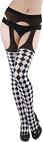 ToBeInStyle Women's Harlequin Checkered Suspender Pantyhose Color: Black & White for $<!--$14.95-->