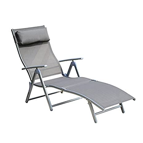 Outsunny Patio Reclining Chaise Lounge Chair with Cushion (Gray)  sc 1 st  Amazon.com & Amazon.com : Outsunny Patio Reclining Chaise Lounge Chair with ... islam-shia.org