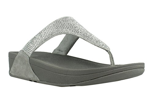 (FitFlop Women's Slinky Rokkit Thong Wedge Sandals Shoes Silver Size 7)