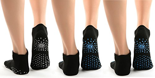 Women's Yoga Socks, Non Slip Ankle Full Socks for Pilates Dance Sport (2 Packs)