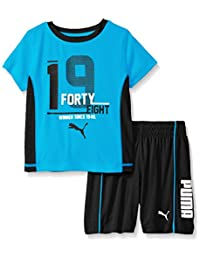PUMA Boys' Stripe Two Piece Set with On Front Of Tee