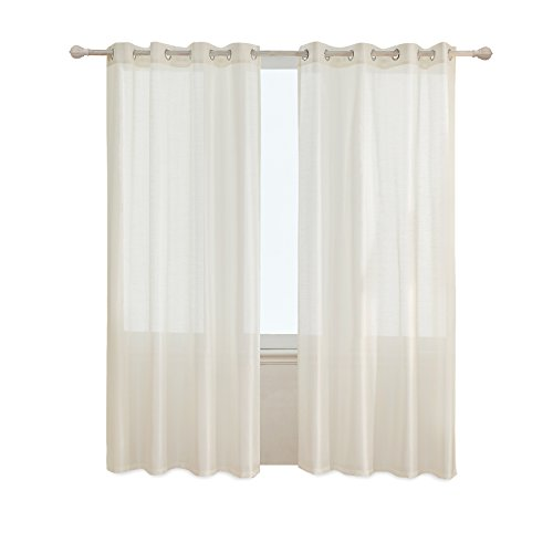 Subrtex 2 Faux Silk Semi-Sheer Window Elegance Curtains/Drape/Panels/Treatment and Solid Grommets for Bedroom (x), 52'' x 84'', Beige (Semi Drapes Sheer)