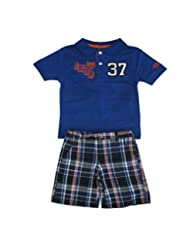 """Izod Little Boys Navy Number """"37"""" Print Polo Top Plaid Shorts Outfit 2T-7"""