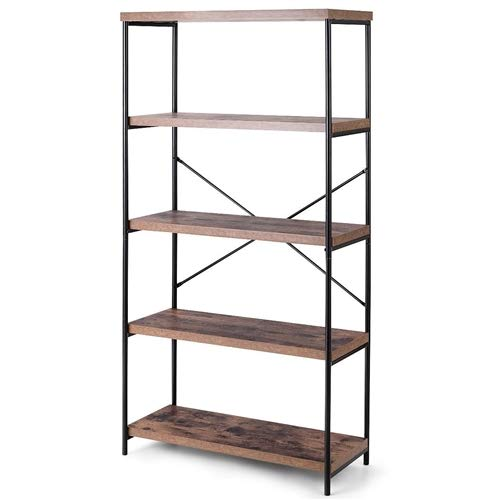LordBee Stable New Industrial Metal Wood 5-Tier Bookcase Storage Rack Book Shelf Classical Style Design Furniture Display Closet Durable Tidy