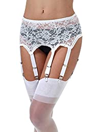 939438ff2 Mesh Garter Belt Sexy Lace Suspender Belt with Six Straps Metal Clip for  Women s Stockings