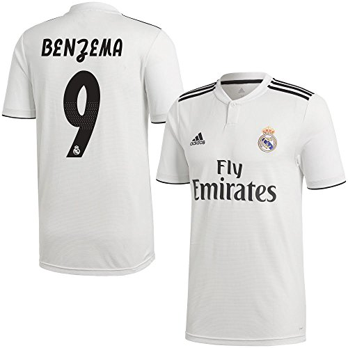 Real Madrid Benzema (adidas Real Madrid Home Benzema 9 Jersey 2018/2019 (Official Printing) - M)
