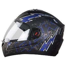 Steelbird SBA-1 R2K Live Full Face Helmet in Matt Finish with Plain Visor (Large 600 MM, Matt Black/Blue)