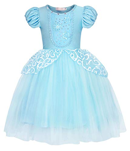HenzWorld Little Girls Cinderella Princess Dress Party Queen Halloween Costume Puff Sleeve Outfits Teens 11-12 Years