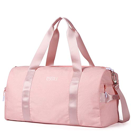 FANCYOUT Sports Gym Bag with Shoes Compartment & Wet Pocket, Travel Duffel Bag for Men and Women (Pink)
