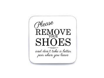 XL Shabby Vintage Schild Türschild Dekoschild PLEASE REMOVE Schuhe ausziehen