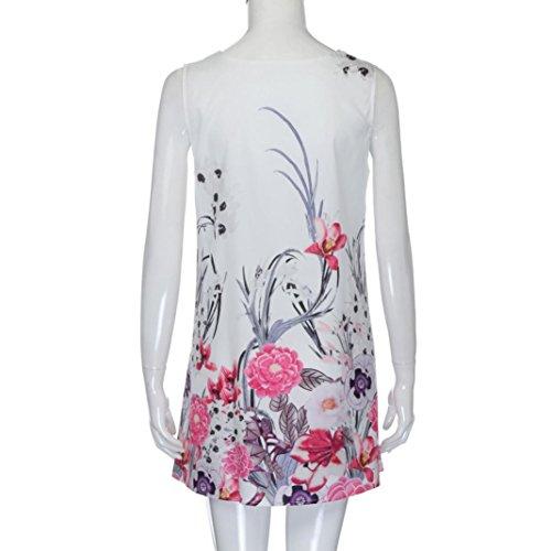 da Stampa Estivo d Donna Dress Estate Mini Canotte Slim Bianca Abito Maniche Senza Vestito Casual Donna Stampato Spiaggia Styledresser Vestito xCwFqXn5H8