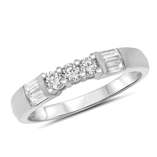 0.25 Carat (ctw) 14k White Gold Round and Baguette Prong Set 3 (Three) Stone Anniversary Ring Wedding Band (3mm) 1/4 CT - Size 7 - 3 Stone Baguette