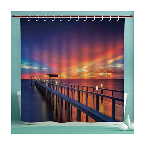 Light Sturbridge 6 (Waterproof Shower Curtain Collection with Hooks, Wooden Bridge in the Port at Sunrise Horizon Candle Light Romantic Decor Image Print Decorative, Hand Drawing Effect Fabric Shower Curtains, 72x84 Inc)