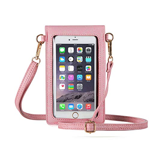 - AnsTOP Lightweight Leather Mini Pouch Small Crossbody Bag Cell Phone Purse Wallet Shoulder Bags for Women, Fit with iPhone X, 8 Plus (Pink)