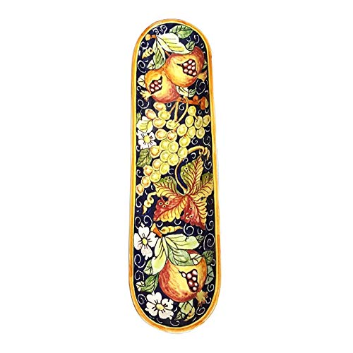 CERAMICHE D'ARTE PARRINI - Italian Ceramic Serving Appetizer Tray Baguette Decorated Grape Hand Painted Made in ITALY Tuscan