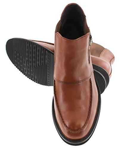 Toto H25022-2.4 Pulgadas Taller - Zapatillas Elevadoras Que AuHombrestan La Altura - Botas Ligeras De Cuero Marrón