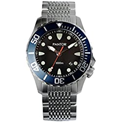 Pantor men's Seahorse Blue automatic stainless steel diver watches 3300 feet waterproof