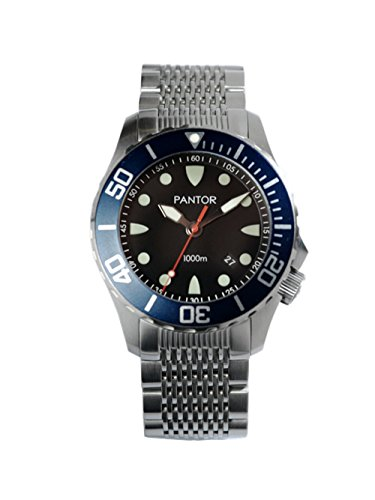 Steel Dial Buckle Stainless (Pantor Seahorse 1000m Big Size 45mm Pro Dive Automatic Watch with Helium Valve Blue Rotating Bezel Sapphire Stainless Steel Bracelet & extesion Buckle)