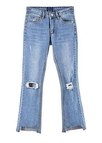 Jeans Ripped Destroyed Vintage 7 Vaqueros Alta Bota Corte Mujer Look Cintura Pants COCO Tejana les para 8 Senora Pantalones Used clothing IqwZp
