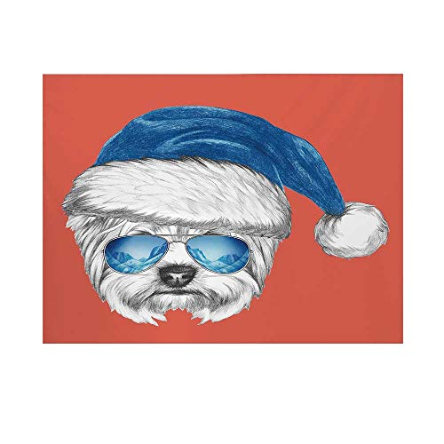 Yorkie Photography Background,Terrier with a Blue Santa Hat and Mirror Aviator Glasses Fun Hand Drawn Animal Decorative Backdrop for Studio,10x8ft