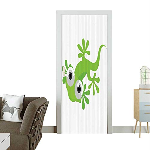 Mural Lizards - Homesonne 3D Photo Door Murals Lizard Looking Us Creature Animal Primitive Nature Animati Reptile Easy to Clean and applyW38.5 x H77 INCH