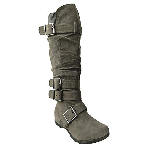 - Generation Y Womens Knee High Faux Suede Flat Winter Buckle Boots Gray, 8