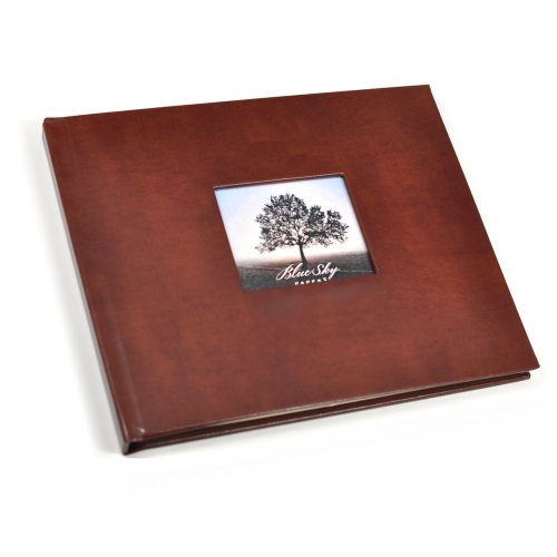 Guest Book with Photo Frame Cover & Lined Pages - Brown Leather by Blue Sky Papers
