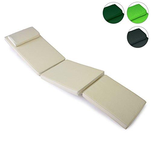 Hochwertige Sitz-Auflage Polster für Deckchair Steamer Holzliege Liegestuhl Klappsessel Sonnenliege, abnehmbares Fußteil, dick bequem wasserabweisend abwaschbar, creme