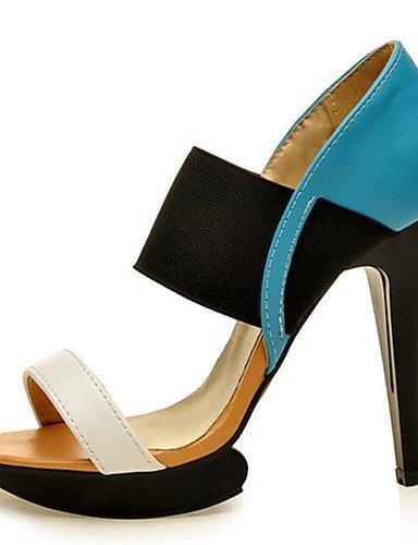 ShangYi Womens Shoes Leatherette Stiletto Heel Heels / Platform Sandals Office & Career / Dress / Casual Blue / Yellow Blue