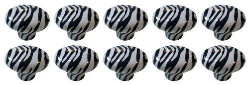 - Revesun 10x Zebra Animal Print Cabinet Drawer Pull Knobs