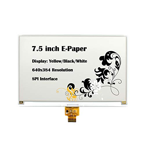 CQRobot 7.5 inch E-Paper Bare Screen Display in Yellow/Black/White, DIY Open Source Electronic E-Ink Display, 640×384 Resolution, SPI Interface, Smart Watch, Shelf Label, Portable Device Displays.