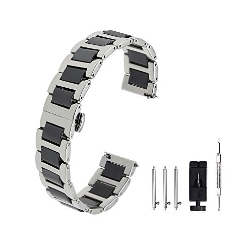 Stainless Steel Ceramic Watch Band Links 20mm/22mm Watch Wrist Bands Mens Watch Bracelet with Butterfly - Ceramic Stainless