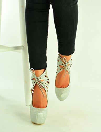 Mujer Plata Cucu Cuña Con Sandalias Fashion qFwaHF