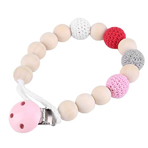 Best Quality - Education Toy - Infant Pacifier Soother Holder Crochet Wooden Beads Chain Metal Clip Baby Shower Feeding Toy Pacifier Clips - by Orchilld - 1 PCs ()