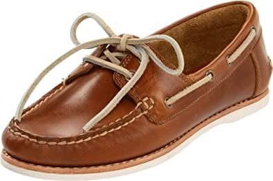 FRYE Women's Quincy Boat Shoe, Camel Smooth Pull-Up Leather, 5.5 M US
