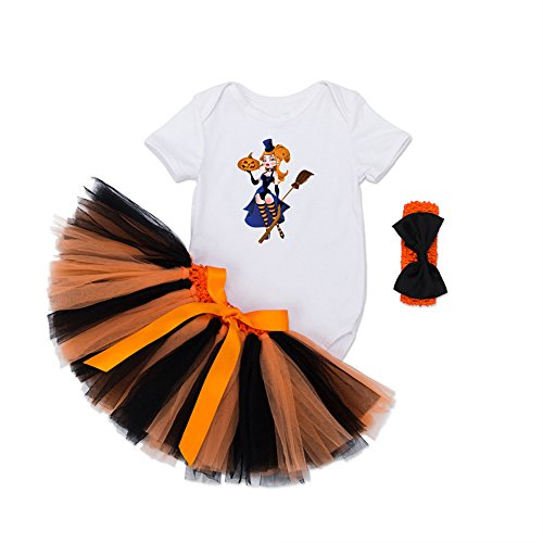 [NoveltyBoy Halloween Dress Shirt Bowtie Hairband Tutu Skirt Dance Dress Pettiskirt Dancewear Witch] (Dance Costumes For Liturgical Dances)