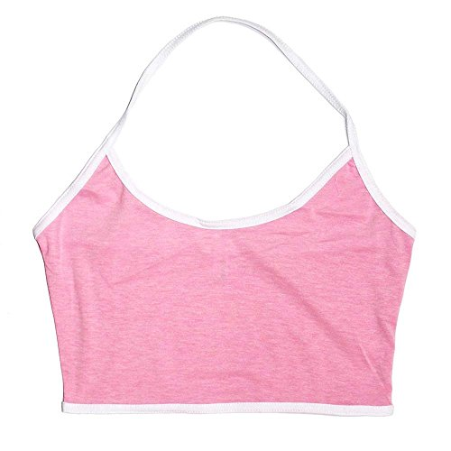 HuaYang Sexy Strappy Skinny Cotton Sports Bustier Bra Vest Crop Tank Top for Ladies Pink XL