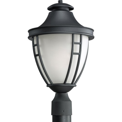 Progress Lighting P5402-31 1-Light Post Lantern with Etched Glass In Black Finish, Textured - In Stores Fairview