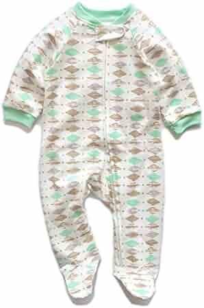 LOSORN ZPY Baby Girl Cute 3 Pack Pajamas Printing Footed Sleeper Long  Sleeve Cotton Romper ( 1513d7b52