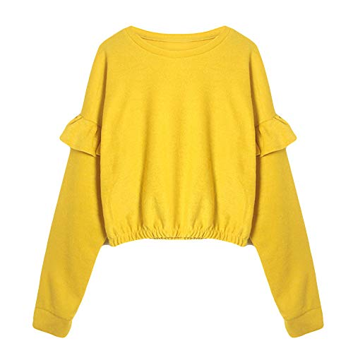 Hoodie for Men with Zipper,Women's Fashion Hoodies Sweatshirts,Fashion Womens Solid Long Sleeve O-Neck Sweatshirt Ruffled Causal Tops (Lined Ruffled Blouse)